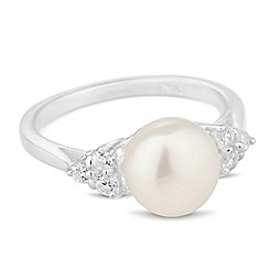 Simply Silver - Sterling silver freshwater pearl and cubic zirconia ring