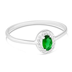 Simply Silver - Sterling silver green cubic zirconia kate ring