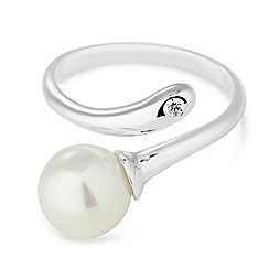 Simply Silver - Sterling silver pearl and crystal crossover ring