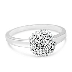 Simply Silver - Sterling silver crystal embellished ball ring