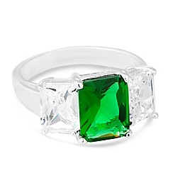 Simply Silver - Sterling silver green cubic zirconia triple stone ring