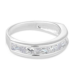 Simply Silver - Sterling silver cubic zirconia mixed stone panelled ring