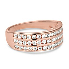 Simply Silver - Rose gold cubic zirconia triple row band ring