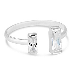 Simply Silver - Sterling silver cubic zirconia baguette open ring