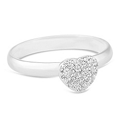 Simply Silver - Sterling silver cubic zirconia embellished heart ring