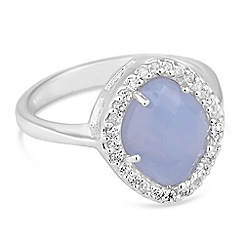 Simply Silver - Sterling silver blue lace agate and cubic zirconia ring