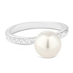 Simply Silver - Sterling silver pearl and cubic zirconia band ring