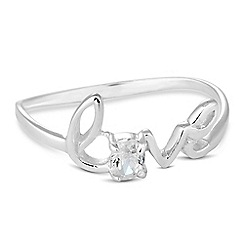 Simply Silver - Sterling silver love ring with cubic zirconia