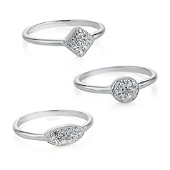 Simply Silver - Sterling silver pave crystal stacker ring set