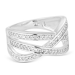 Simply Silver - Sterling silver pave criss cross ring