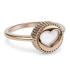 Simply Silver - Sterling silver rose gold plated heart cut out ring