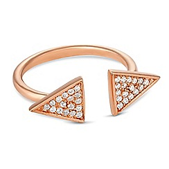 Simply Silver - Rose gold plated sterling silver pave triangle open ring