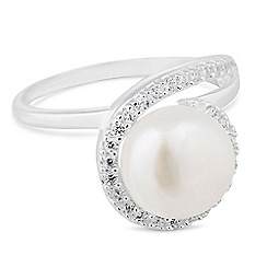 Simply Silver - Sterling silver pearl and cubic zirconia swirl ring