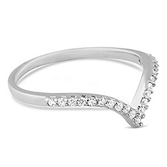 Simply Silver - Sterling silver cubic zirconia wishbone ring