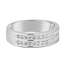Simply Silver - Sterling silver double row cubic zirconia band ring