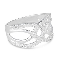 Simply Silver - Sterling silver cubic zirconia linked disc ring