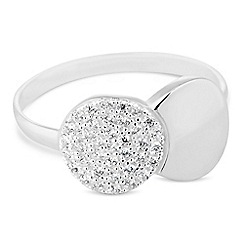 Simply Silver - Sterling silver cubic zirconia link shape ring