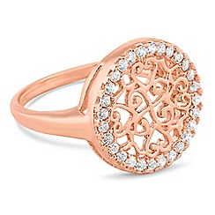 Simply Silver - Rose gold plated sterling silver filigree disc ring