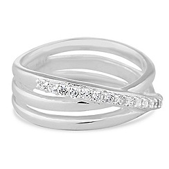 Simply Silver - Sterling silver interlinked cubic zirconia ring