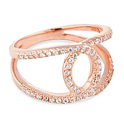Simply Silver - Rose gold plated sterling silver cubic zirconia open link ring