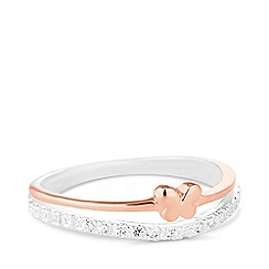 Simply Silver - Sterling silver two tone double row butterfly ring