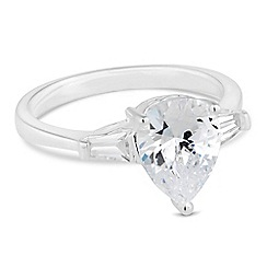 Simply Silver - Sterling silver cubic zirconia peardrop ring