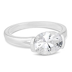 Simply Silver - Sterling silver oval cubic zirconia ring