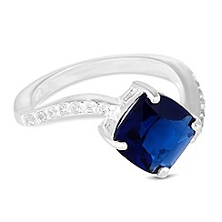 Simply Silver - Sterling silver blue cubic zirconia swirl ring
