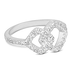Simply Silver - Sterling silver cubic zirconia square link ring