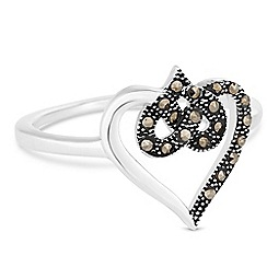 Simply Silver - Sterling silver marcasite open heart ring