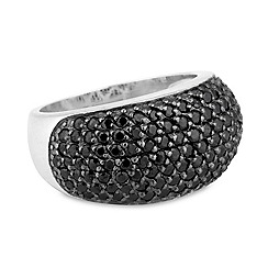 Simply Silver - Sterling silver black cubic zirconia pave ring