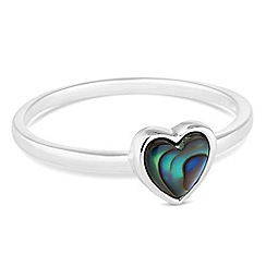 Simply Silver - Sterling silver small abalone heart ring
