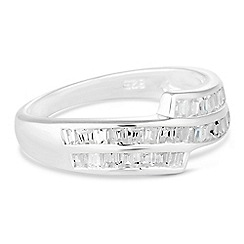 Simply Silver - Sterling silver cubic zirconia wave band ring