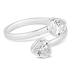 Simply Silver - Sterling silver cubic zirconia heart cross over ring