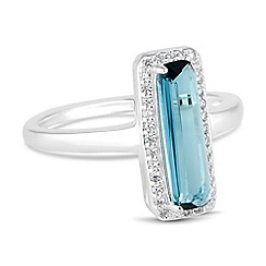 Simply Silver - Sterling silver blue cubic zirconia rectangle ring