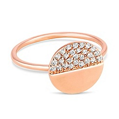 Simply Silver - Rose gold plated sterling silver pave disc ring