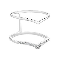 Simply Silver - Sterling silver pave double wishbone ring