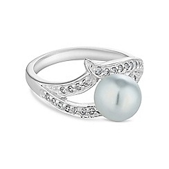 Simply Silver - Sterling silver and pearl swirl ring