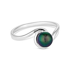 Simply Silver - Sterling silver tahitian inspired pearl twist ring
