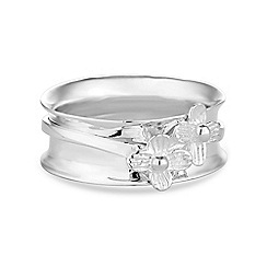 Simply Silver - Sterling silver flower spinner band ring
