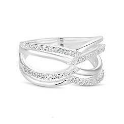 Simply Silver - Sterling silver pave interlink ring