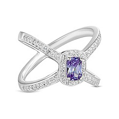 Simply Silver - Sterling silver purple open band ring