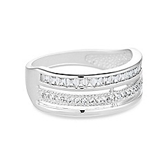 Simply Silver - Sterling silver triple row pave ring