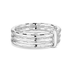 Simply Silver - Sterling silver diamond cut triple row ring