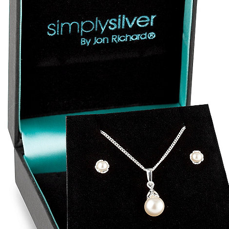 Simply Silver - Sterling silver classic pearl pendant necklace and earring set