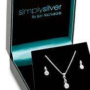 Sterling silver and cubic zirconia twisted stick necklace and earring set