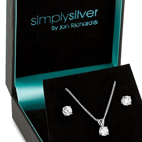 Simply Silver - Sterling silver and round cubic zirconia pendant necklace and earring set