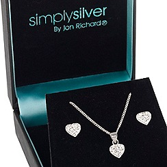Simply Silver - Sterling silver crystal heart necklace and earring