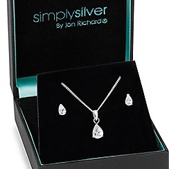 Simply Silver - Cubic zirconia peardrop necklace and earring set