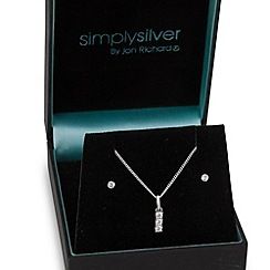 Simply Silver - Sterling silver triple cubic zirconia necklace and earring set